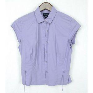 Ann Taylor Stretch Purple Cap Sleeve Shirt Size 2
